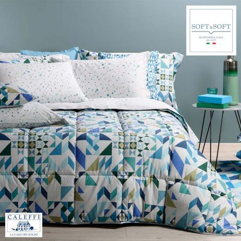 GEO winter quilt for SINGLE bed microfiber CALEFFI Blue