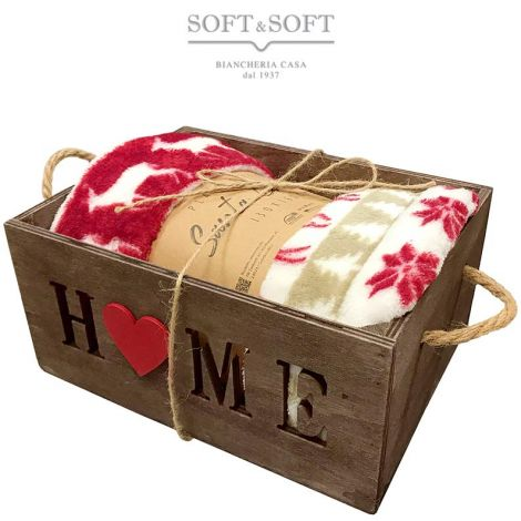 Plaid Gift in wooden box inlaid with Tyrolean designs