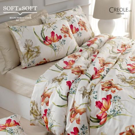 GIGLIO Double duvet cover set Cotton satin 4 pillowcases