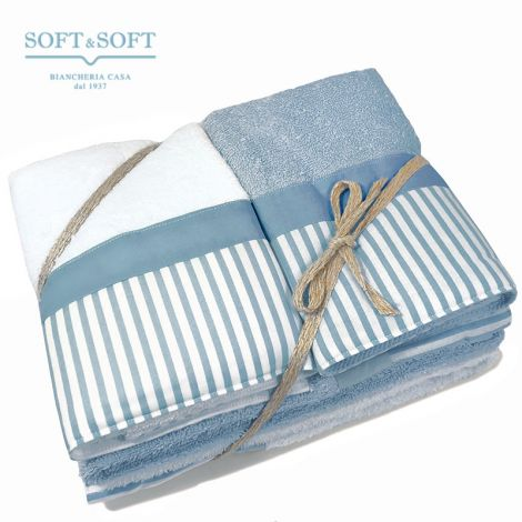 Giorgia home towel set 4 pieces pure cotton with flounce Striped Blue
