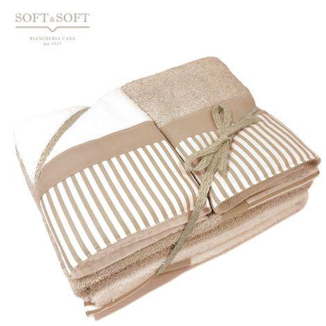 Giorgia set asciugamani casa 4 pezzi puro cotone con balza Righe Corda