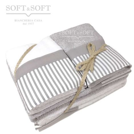 Giorgia home towel set 4 pieces pure cotton with flounce Striped gray