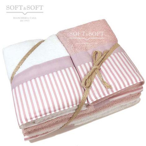 Giorgia set asciugamani casa 4 pezzi puro cotone con balza Righe rosa Malva