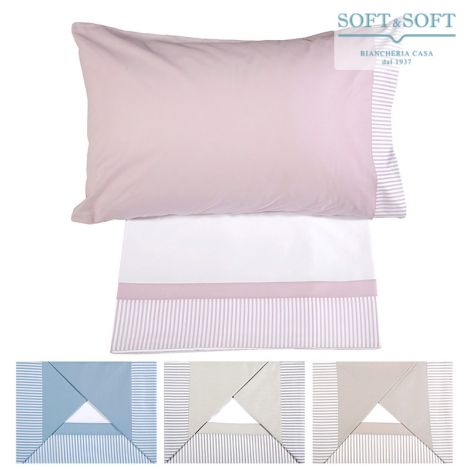 GIORGIA Sheet Set for DOUBLE Bed Striped Flounce