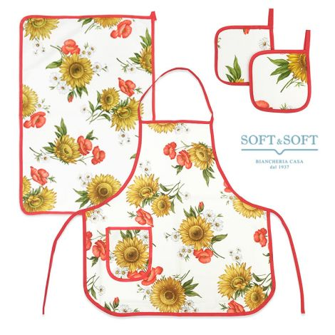 GIRASOLI Kitchen set 4 pz Dishtowel Apron Pot Holders