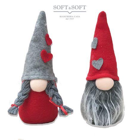 Gnometti uno con barba e uno con trecce Decorazione Natalizia (min. 2 lui+lei)