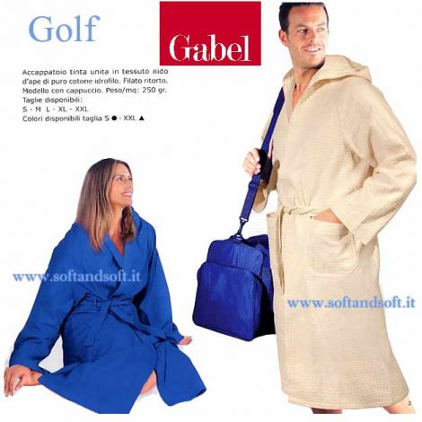 GOLF waffle Hooded Bathrobe with pockets by GABEL size S