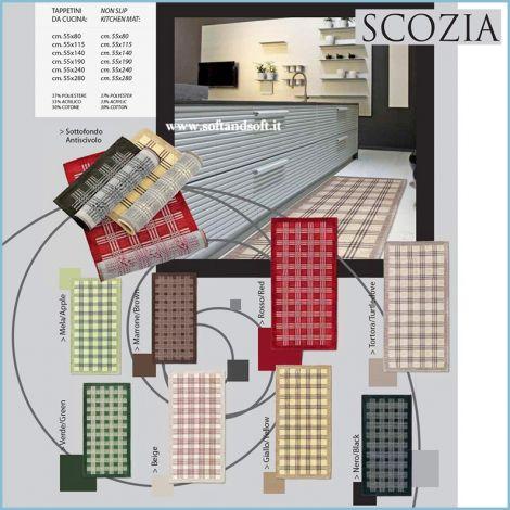 SCOZIA Tappeto Cucina Jacquard cm 55x140 antiscivolo