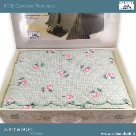 ROSE Quilted Bedcover for Double beds Shabby Chic
