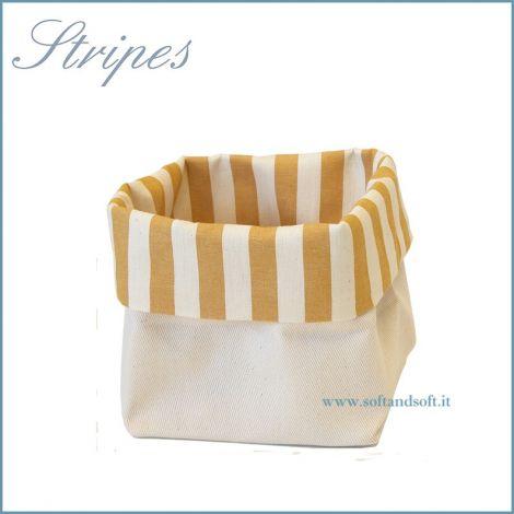 Stripes Cestino Porta Pane in puro cotone Made in Italy giallo