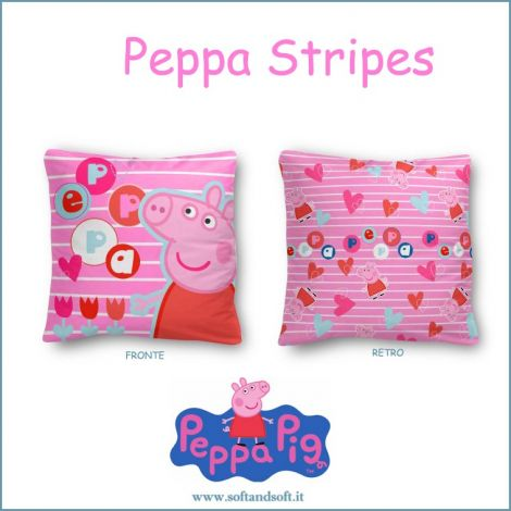 PEPPA PIG STRIPES Cuscino Arredo cm 40x40