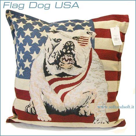 FLAG USA DOG Pair Pillowcases Cushion cm 43x43