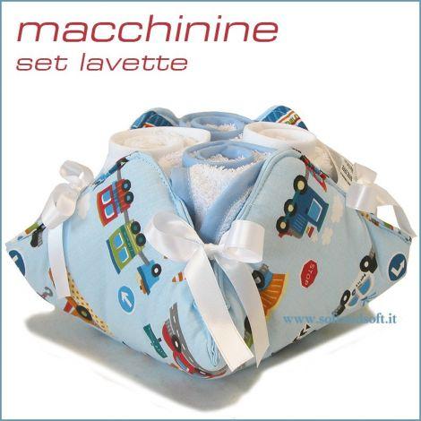 Lavette Macchinine morbida spugna di puro cotone set 4 pezzi+cestino