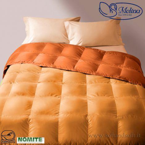 trapunta piuma d'oca letto singolo arancio trapuntatura a quadrettoni