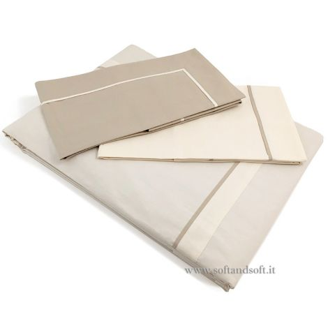 PERCALLE PROFILO Duvet Cover Set for Double Bed Cotton Percale