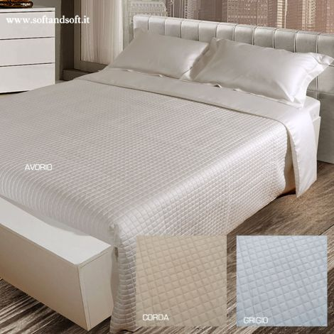 QUADRETTO quilted duvet cover set double bed in pure cotton Satin