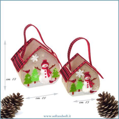 Set 2 Cestini  a forma Casetta in feltro decorati con pupazzo di neve