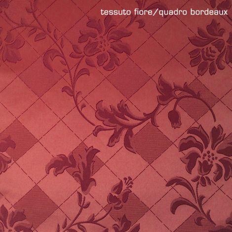 Tovaglia ROTONDA su misura Fiore/Quadro Bordeaux