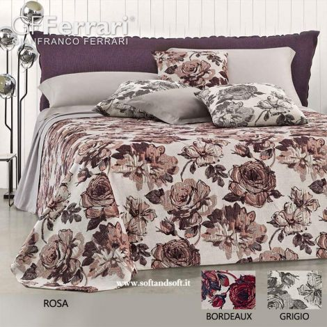 ROSE Yarn-Dyed Chenillie Jacquard Bedspread for Double Bed