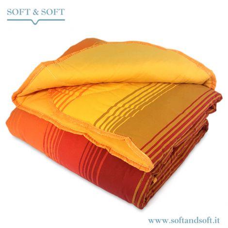plaid imbottito tessuto esterno in caldo colone rigato nei colori in gradazione dal giallo al arancio scuro