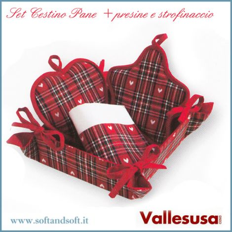 Basket for Bread Set + Potholders + Dish cloth pure Cotton Vallesusa Red