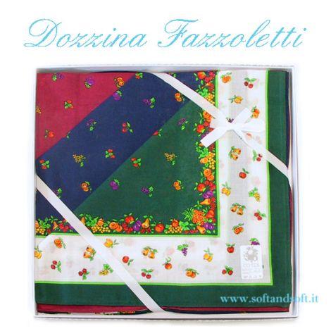 DOZZINA FAZZOLETI in tessuto Frutta Colorati cm 48x48 Puro Cotone