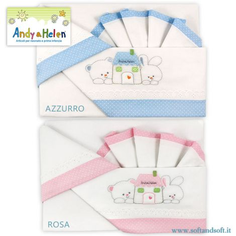 RICAMO Casetta Sheet Set for crib/pram Andy & Helen R79