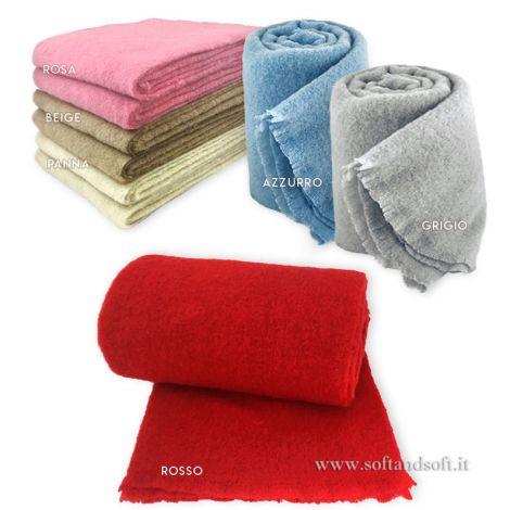 MOHAIR coperta lana/plaid misura SINGOLA cm 150x200 tinta unita