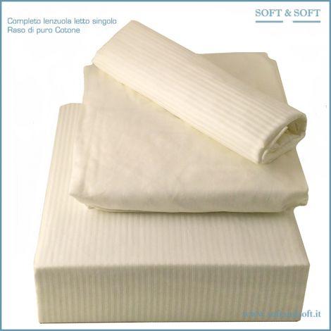 Rigatino M Completo lenzuola in Raso di Cotone per letto singolo