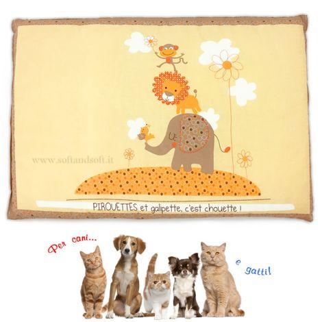 PIROUETTES morbido Cuscino per Cane o Gatto in puro cotone cm 40x60