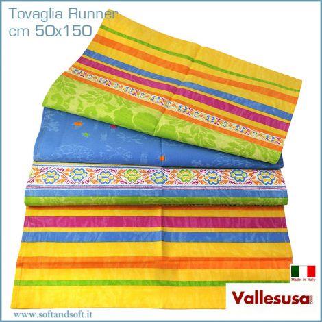 MAGIE tovaglia Runner Striscia tavola cm 50x150 Made in Italy azzurro