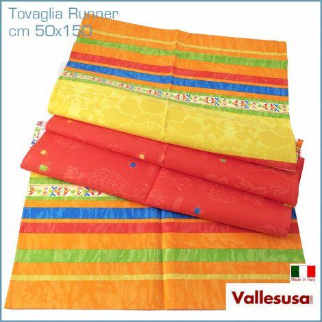 MAGIE tovaglia Runner Striscia tavola cm 50x150 Made in Italy arancio 497012