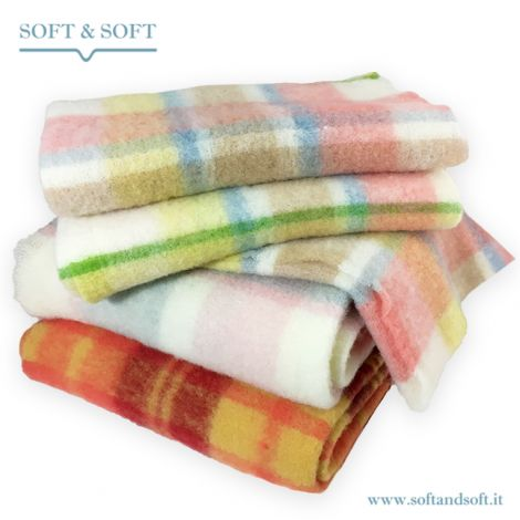 MOHAIR coperta lana/plaid misura SINGOLA cm 150x200 scozzese