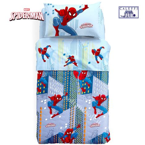 SPIEDERMAN MAN SKY quilted bedcover for three quarter beds Disney Caleffi Microfiber