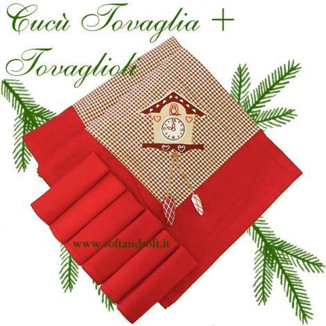 Tovaglia natalizia a piccolissimi quadretti bordata in rosso con appilcazione cucù