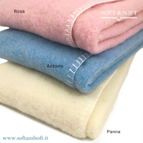 MOHAIR BABY Wool Blanket for Cots Plain Colour cm 90x120