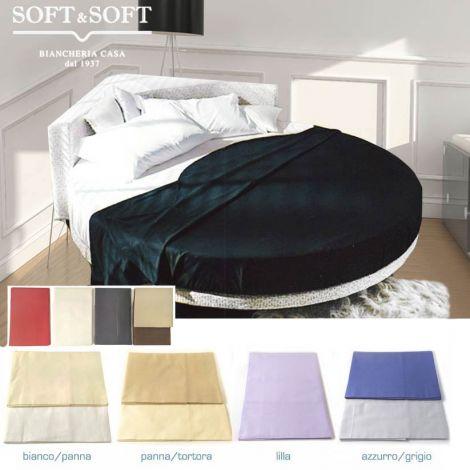 lenzuola per letto rotondo tinta unita di vari colori