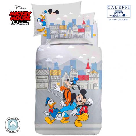 MICKEY TOWN Duvet Cover Set for single bed Disney by CALEFFI