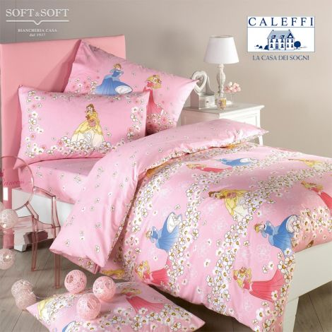 PRINCESS ROMANTIC Double Face Duvet Cover set for single bed Disney CALEFFI