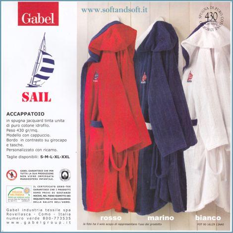 SAIL Accappatoio Gabel in Spugna per Sport bianco blu