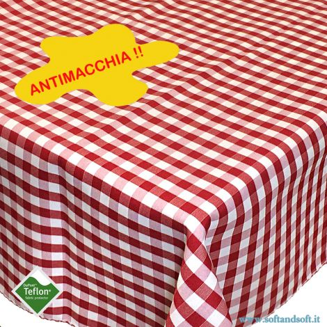 BORA Table cloth for 6 cm 140x180 check pattern no stain TEFLON - red