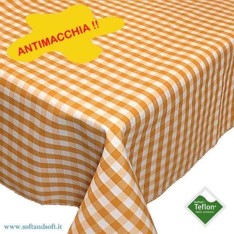 BORA Table cloth for 6 cm 140x180 check pattern no stain TEFLON - yellow