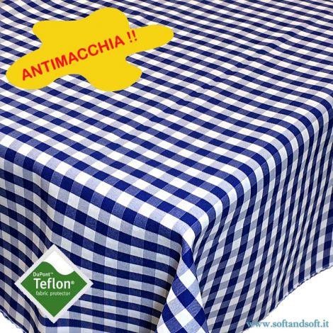 BORA Table cloth for 6 cm 140x180 check pattern no stain TEFLON - Blu