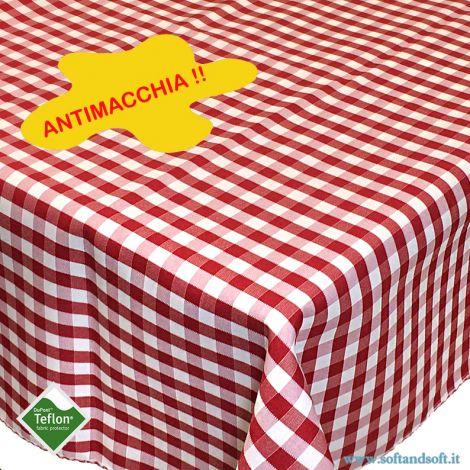 BORA Tovaglia da 12 cm 140x250 Antimacchia quadretti Teflonata Rosso