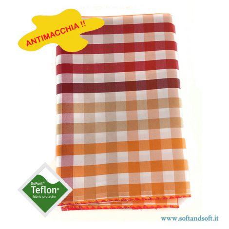 BORA Table cloth for 12 cm 140x250 check no stain TEFLON orange red