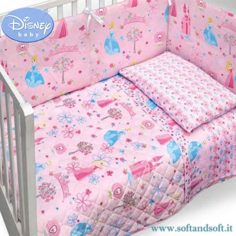 MINNIE & MICKEY Set made up of Quilted Bedcover Bumper Disney