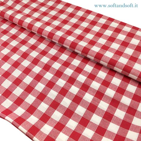CAMPAGNOLA FABRIC FOR TABLE CLOTH Pure Cotton cm  140 Red Patterns