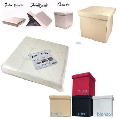BOX PUFF Poggiapiedi Scatola Puff in ecopelle ripiegabile