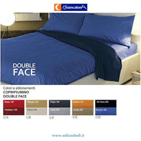 COLORED Duvet cover for Singol bed Biancaluna Solid Color double face