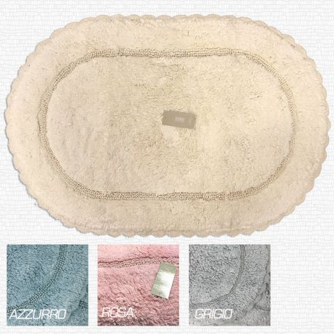 Tappeto Bagno ovale, panna, rosa, azzurro, grigio, in puro cotone praticissimo va in lavatrice